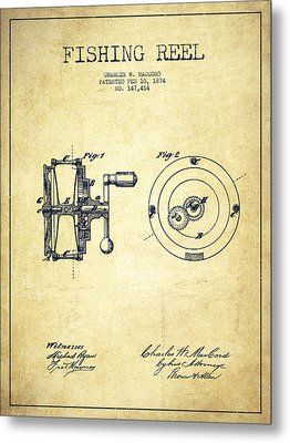 Fishing Reel Patent From 1874 Metal Print