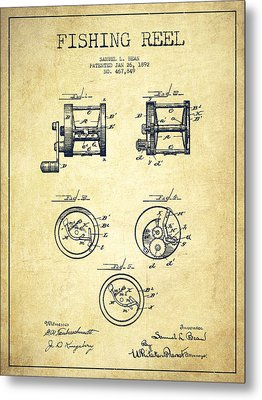 Fishing Reel Patent From 1892 Metal Print by Aged Pixel