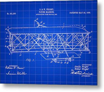 Flying Machine Patent 1903 - Blue Metal Print