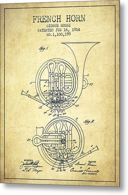 French Horn Patent From 1914 - Vintage Metal Print