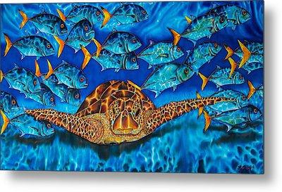 Sea Turtle And Jacks Metal Print by Daniel Jean-Baptiste