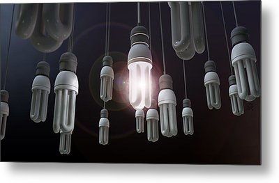 Leadership Hanging Lightbulb Metal Print