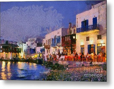 Little Venice In Mykonos Island Metal Print by George Atsametakis