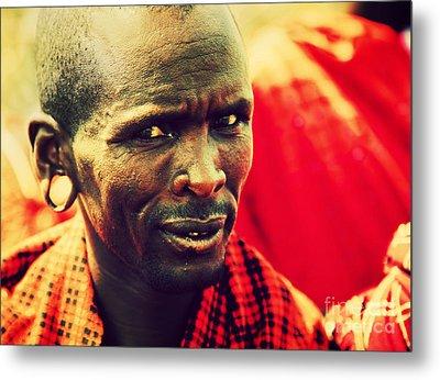 Maasai Man Portrait In Tanzania Metal Print by Michal Bednarek
