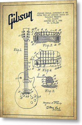 Mccarty Gibson Les Paul Guitar Patent Drawing From 1955 - Vintage Metal Print