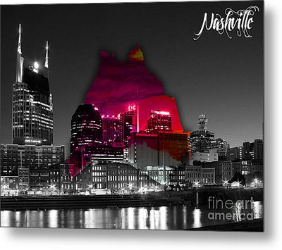 Nashville Skyline And Map Watercolor Metal Print