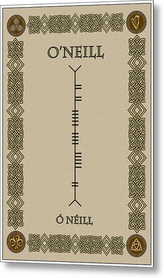 Metal Print featuring the digital art O'neill Written In Ogham by Ireland Calling