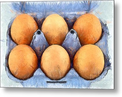 Organic Eggs Metal Print by George Atsametakis