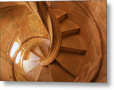 Portugal, Tomar, Spiral Stone Staircase Metal Print by Terry Eggers