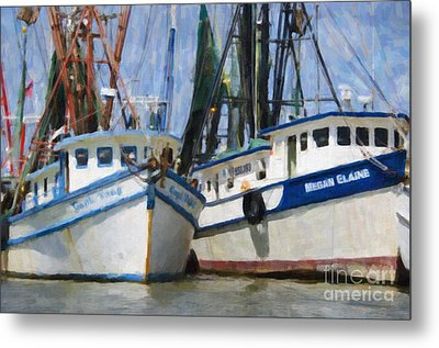 Shrimp Boats On The Creek Metal Print by Dale Powell