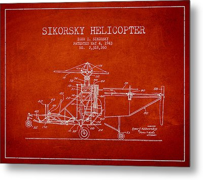 Sikorsky Helicopter Patent Drawing From 1943 Metal Print by Aged Pixel