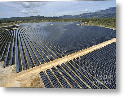 Solar Panels In Farm Metal Print by Sami Sarkis