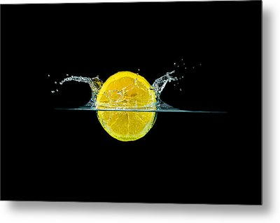 Splashing Lemon Metal Print