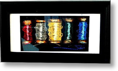 Metal Print featuring the drawing 5 Spools by Joseph Hawkins