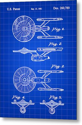Star Trek Uss Enterprise Toy Patent 1981 - Blue Metal Print by Stephen Younts