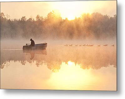 Sunrise In Fog Lake Cassidy With Fisherman In Small Fishing Boat Metal Print