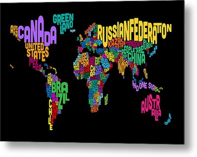 Text Map Of The World Map Metal Print by Michael Tompsett