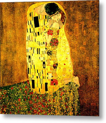 Metal Print featuring the digital art The Kiss by Gustav Klimt