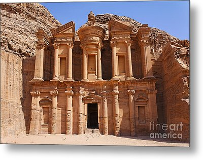 The Monastery At Petra In Jordan Metal Print by Robert Preston