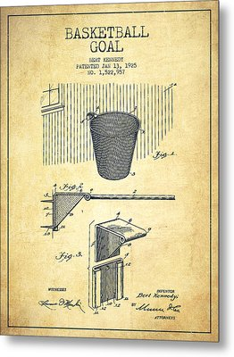 Vintage Basketball Goal Patent From 1925 Metal Print by Aged Pixel