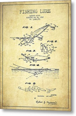 Vintage Fishing Lure Patent Drawing From 1969 Metal Print