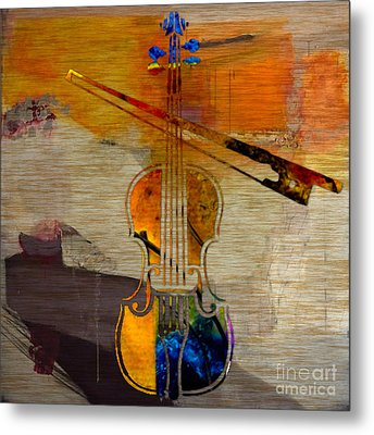 Violin And Bow Metal Print by Marvin Blaine