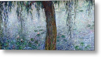 Waterlilies Morning With Weeping Willows Metal Print by Claude Monet
