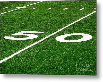 50 Yard Line On Football Field Metal Print by Paul Velgos
