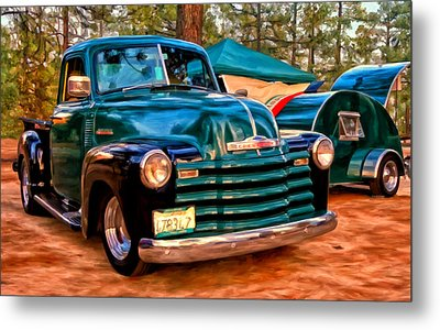 Metal Print featuring the painting '51 Chevy Pickup With Teardrop Trailer by Michael Pickett
