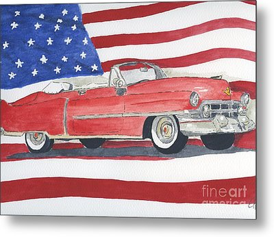 Metal Print featuring the painting 52 Cadillac Convertible by Eva Ason