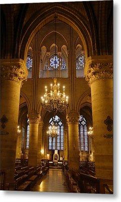 Architectural Artwork Within Notre Dame In Paris France Metal Print by Richard Rosenshein