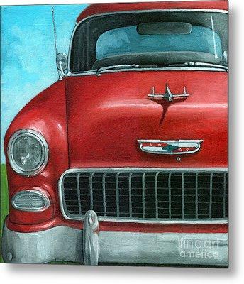 55' Vintage Red Chevy Metal Print by Linda Apple