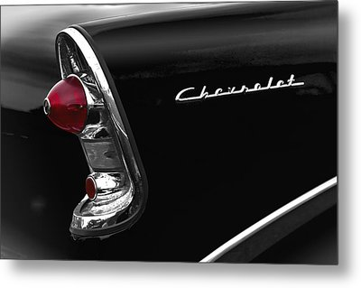 57 Black Chevrolet Metal Print