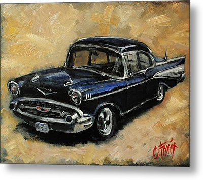 57 Chevy Metal Print by Carole Foret