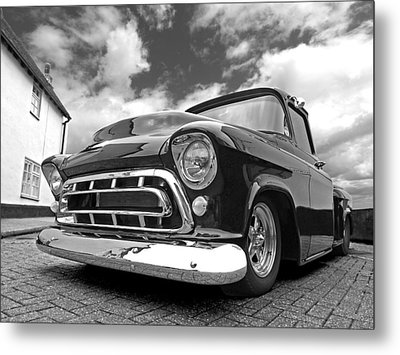 57 Stepside Chevy In Black And White Metal Print