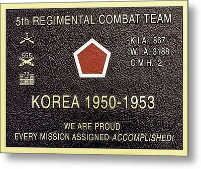 5th Regimental Combat Team Arlington Cemetary Memorial Metal Print