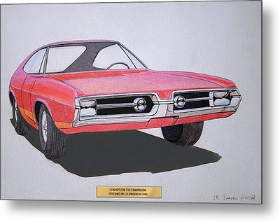 1967 Barracuda   Plymouth Vintage Styling Design Concept Rendering Sketch Metal Print by John Samsen