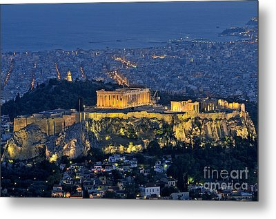 Acropolis Of Athens During Dusk Time Metal Print by George Atsametakis