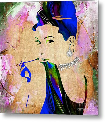 Audrey Hepburn Diamond Collection Metal Print