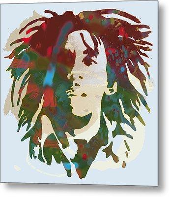 Bob Marley Stylised Pop Art Drawing Potrait Poser Metal Print by Kim Wang