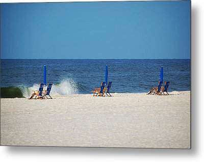 Metal Print featuring the digital art 6 Chairs And Umbrella by Michael Thomas