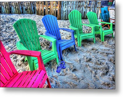 Metal Print featuring the digital art 6 Chairs by Michael Thomas