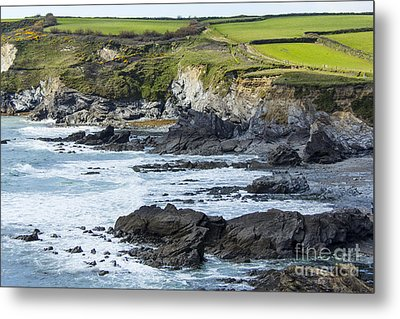 Cornish Seascape Gunwalloe Metal Print by Brian Roscorla