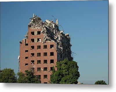 Demolition Of Detroit Housing Towers Metal Print by Jim West