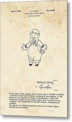 Disney Pig Patent Metal Print by Marlene Watson