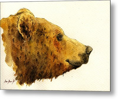 Grizzly Bear Metal Print by Juan  Bosco