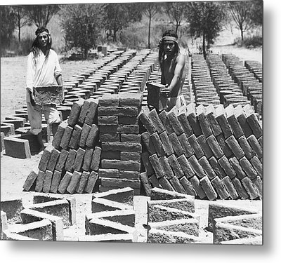 Indians Making Adobe Bricks Metal Print