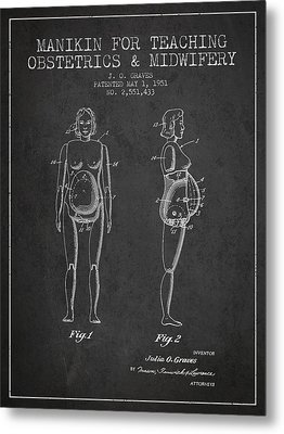 Manikin For Teaching Obstetrics And Midwifery Patent From 1951 - Metal Print by Aged Pixel