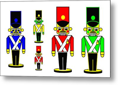 6 Nutcracker Soldiers On Black Metal Print by Asbjorn Lonvig