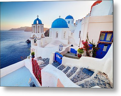 Oia Town On Santorini Greece Metal Print